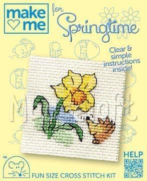 Mouseloft Daffodil and Hedgehog Make Me For Springtime cross stitch kit